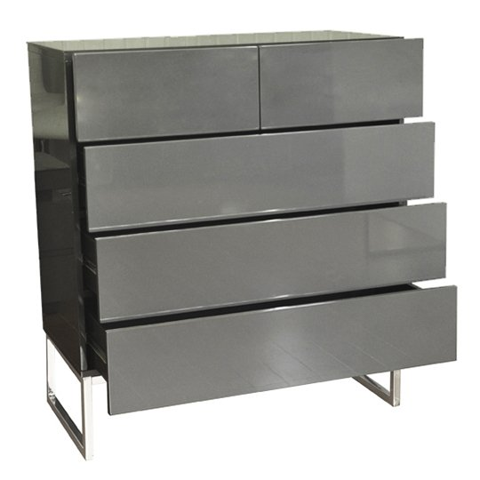 Strada Grey Gloss Chest of Drawers With Glass Top And 5 Drawers_4