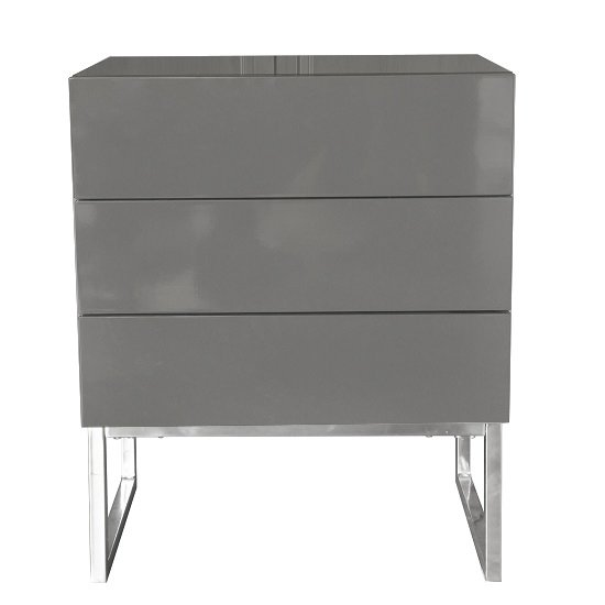 Strada Grey Gloss Bedside Cabinet With Glass Top And 3 Drawers_2