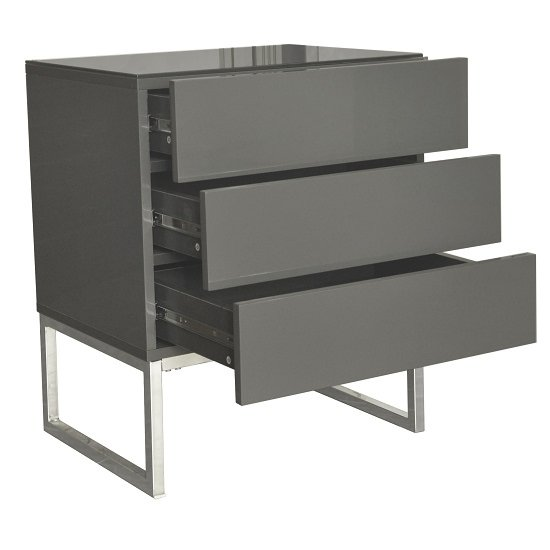 Strada Grey Gloss Bedside Cabinet With Glass Top And 3 Drawers_4