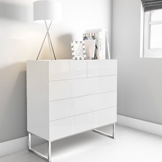 Strada Chest of Drawers in White High Gloss With 5 Drawers