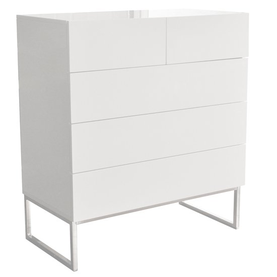 Strada Chest of Drawers in White High Gloss With 5 Drawers_5