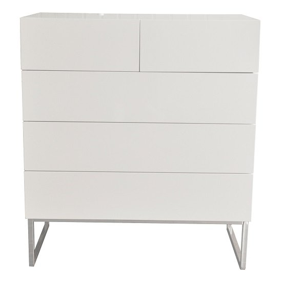 Strada Chest of Drawers in White High Gloss With 5 Drawers_2