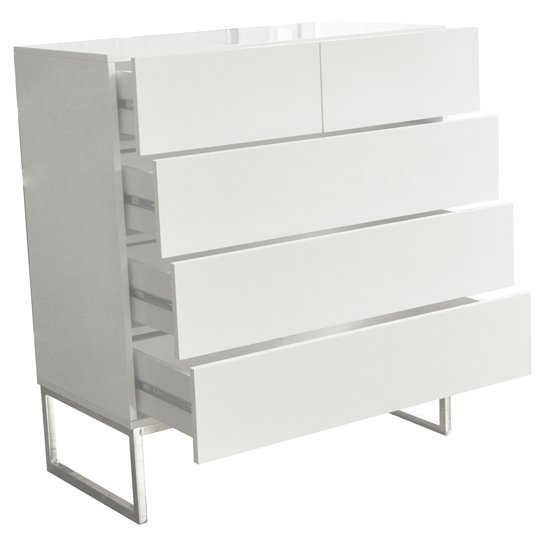 Strada Chest of Drawers in White High Gloss With 5 Drawers_3