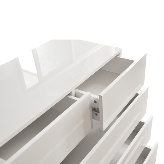 Strada Chest of Drawers in White High Gloss With 5 Drawers_4