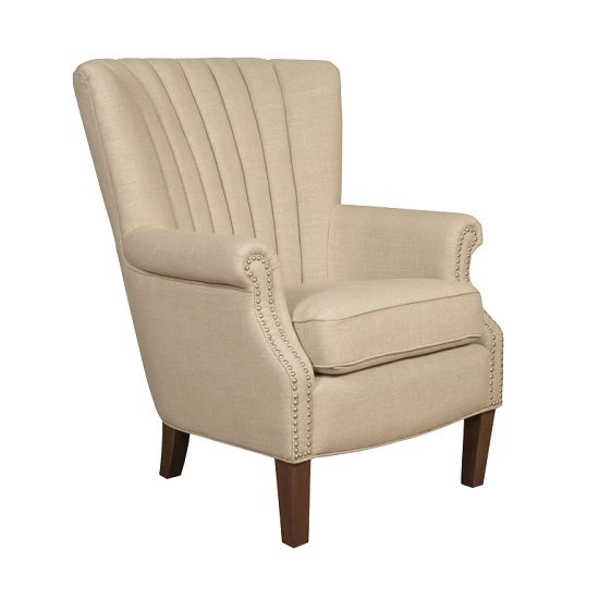Silon Armchair In Beige Fabric With Dark Brown Legs
