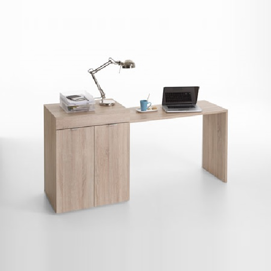 Multifunction Computer Desk In Oak With Extendable Table_2