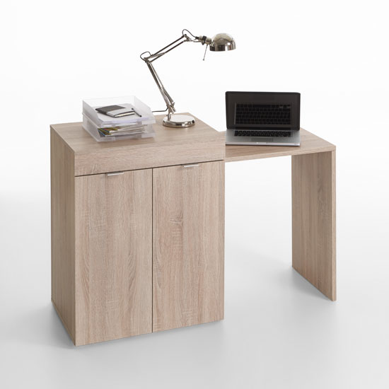 Multifunction Computer Desk In Oak With Extendable Table