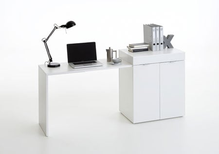 Multifunction Computer Desk In White With Extendable Table
