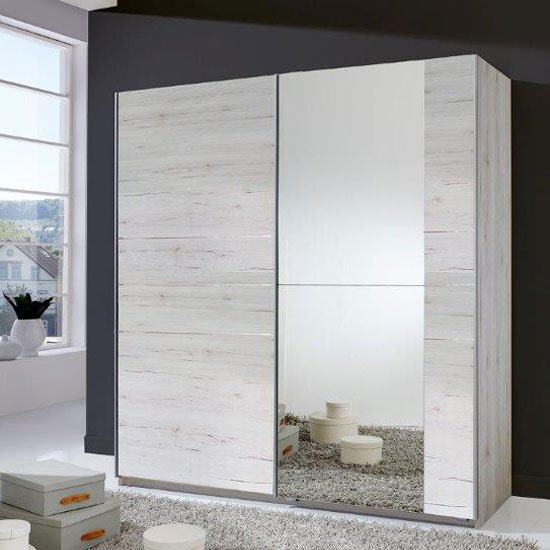 Stream Sliding Wardrobe In White Oak With Mirrored Door