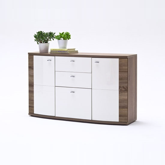 Kaunas Sideboard In White Gloss Front And Oak With 2 Doors