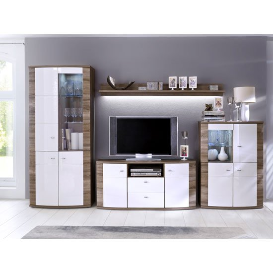 Kaunas Living Room Furniture Set In White Gloss Front And