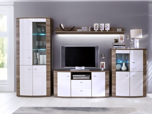Kaunas Living Room Furniture Set In White Gloss Front And Oak
