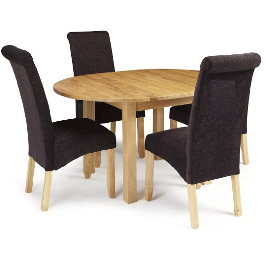 Robyn Extendable Dining Table With 4 Ameera Chair In Aubergine