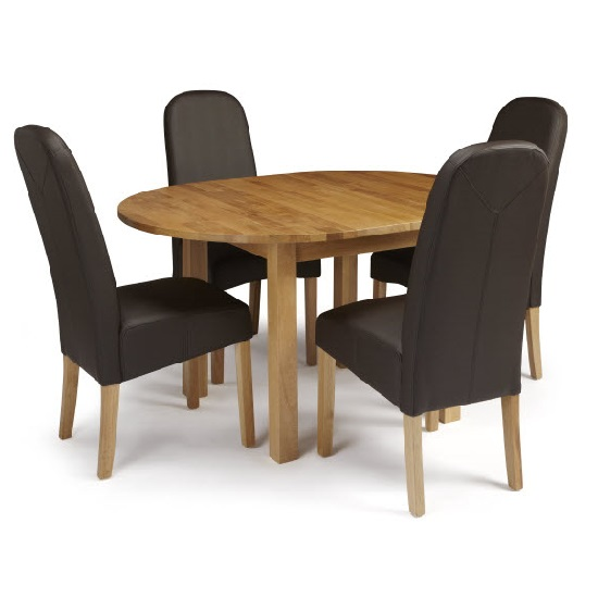 Robyn Extendable Dining Table With 4 Jennifer Chair In Brown PU