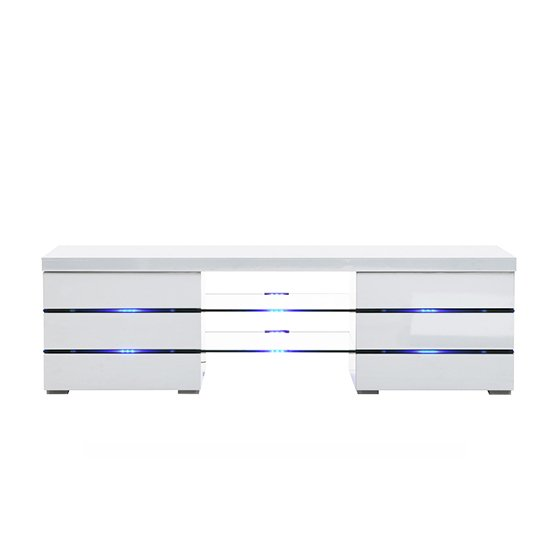 Svenja Media TV Stand in High Gloss White With Blue LED Lights_2