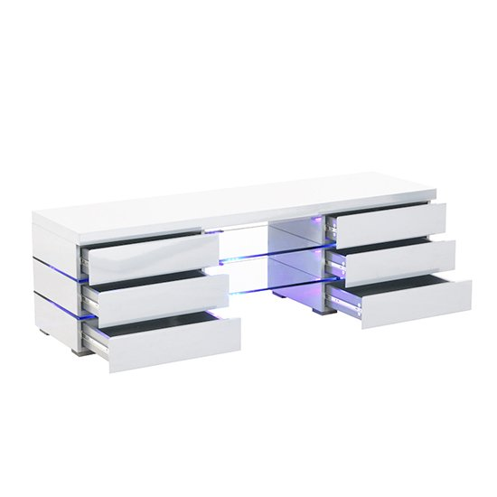 Svenja Media TV Stand in High Gloss White With Blue LED Lights_3