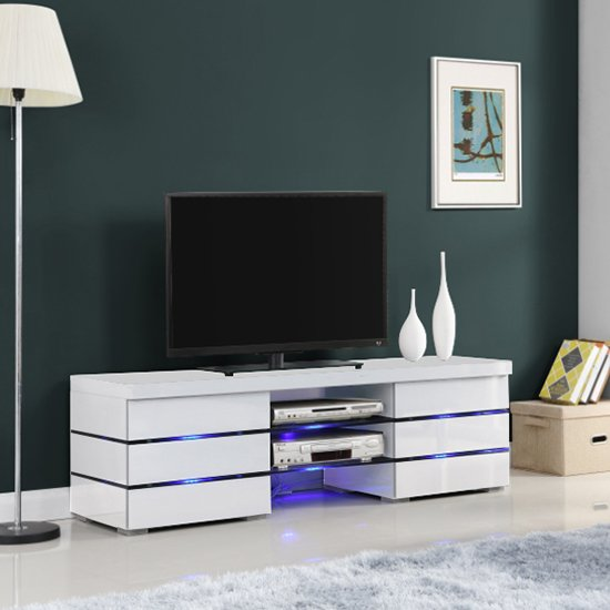 Svenja Media TV Stand in High Gloss White With Blue LED Lights_4