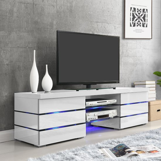 Svenja Media TV Stand in High Gloss White With Blue LED Lights_1