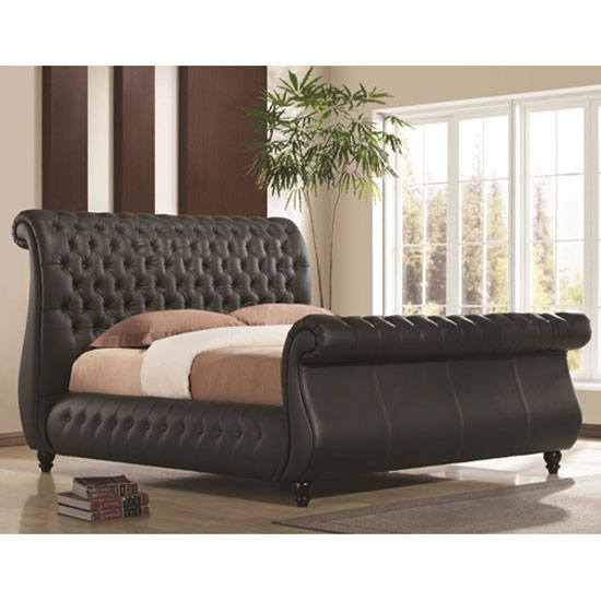Sawn Black Real Leather Finish King Size Bed