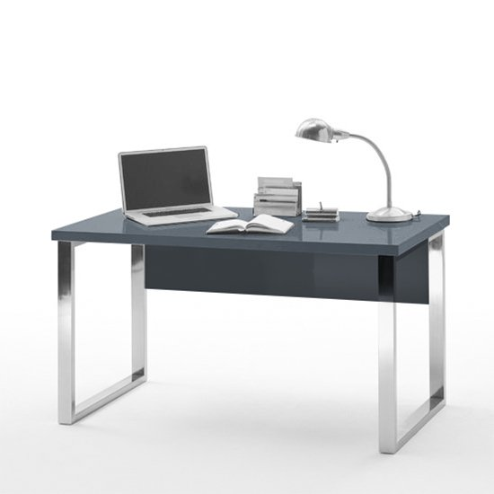 Sydney Office Desk In High Gloss Grey And Chrome Frame