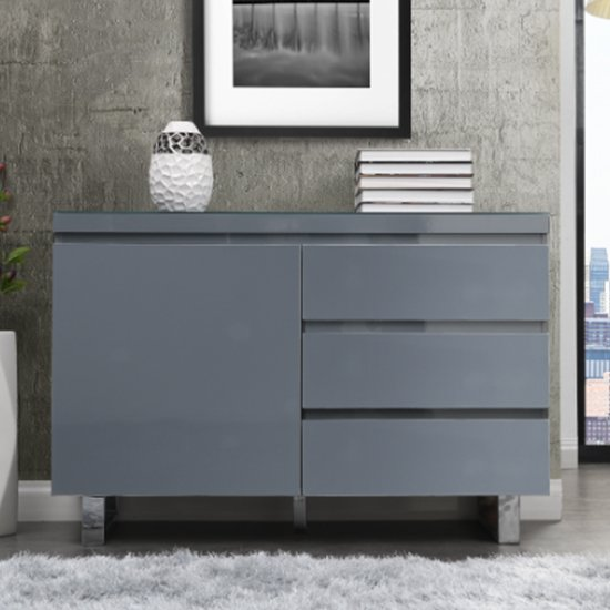 Sydney Small Sideboard In High Gloss Grey With 3 Drawer 1 Door_2