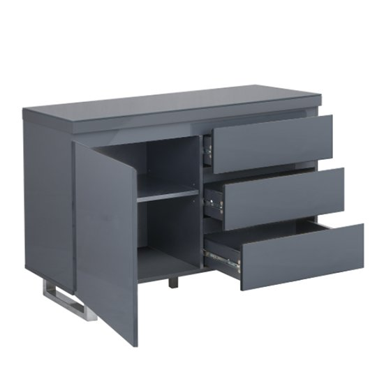 Sydney Small Sideboard In High Gloss Grey With 3 Drawer 1 Door_3