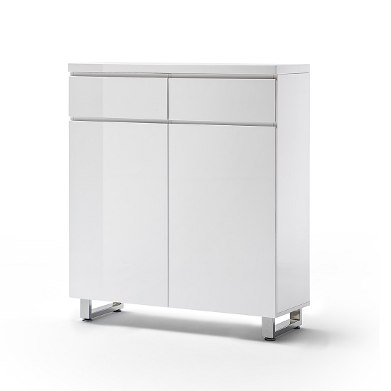 Sydney Shoe Storage Cabinet In High Gloss White With Shelves_5