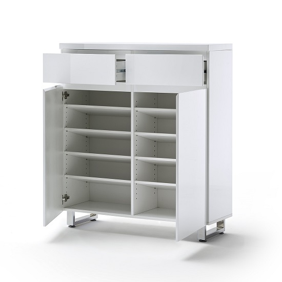 Sydney Shoe Storage Cabinet In High Gloss White With Shelves_2