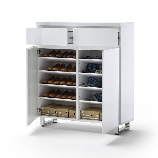 Sydney Shoe Storage Cabinet In High Gloss White With Shelves_4