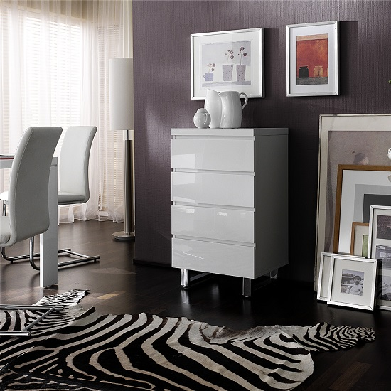 Read more about Sydney chest of drawers in high gloss white with 4 drawers