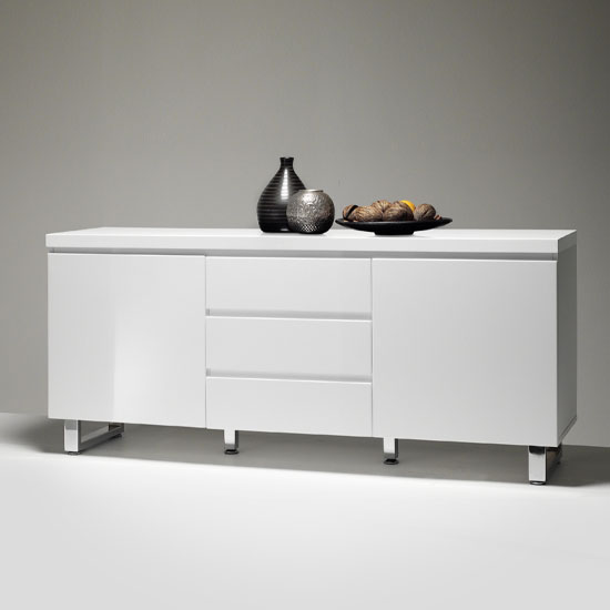 Sydney 2 Door Large Sideboard In High Gloss White With 3 Drawer_2