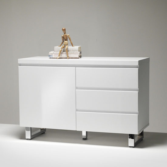 Sydney Small Sideboard In High Gloss White 3 Drawer 1 Door_2