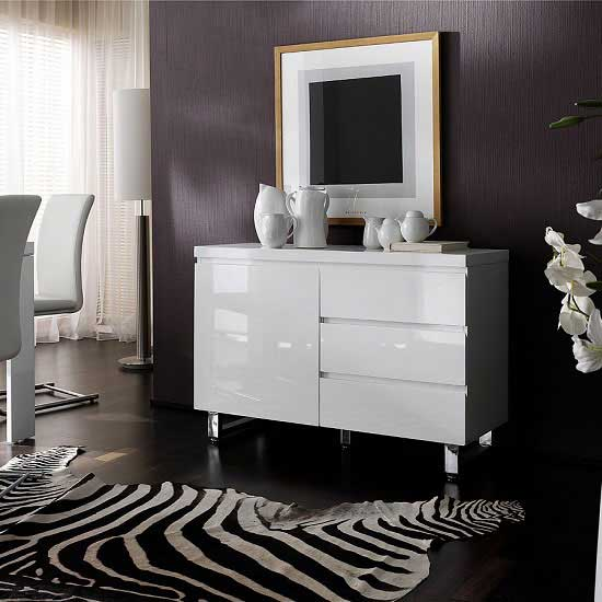 Sydney Small Sideboard In High Gloss White 3 Drawer 1 Door_1