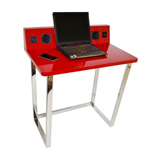 Medford Laptop Desk In Red High Gloss With Chrome Frame