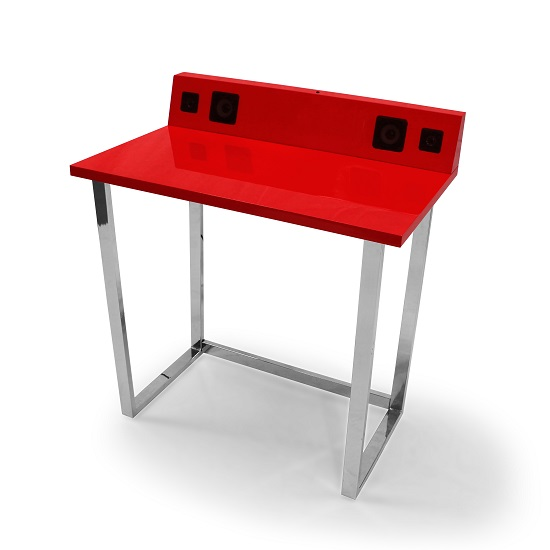 Medford Laptop Desk In Red High Gloss With Chrome Frame_2