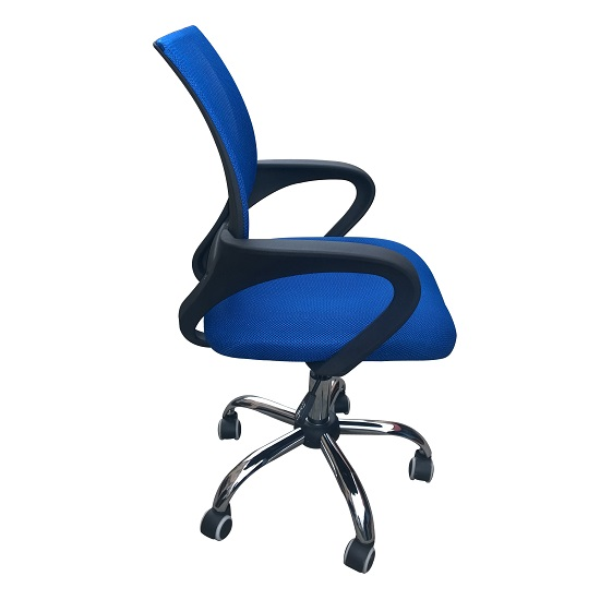 Regan Home Office Chair In Blue With Mesh Back And Chrome Base_2