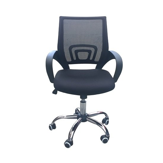 Regan Home Office Chair In Black With Mesh Back And Chrome Base_1