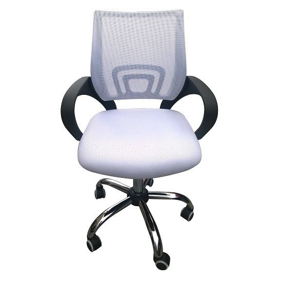 Regan Home Office Chair In White With Mesh Back And Chrome Base