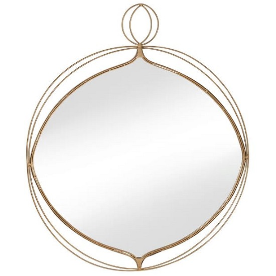 Clarissa Wall Mirror In Gold Finish With Wire Detail_1