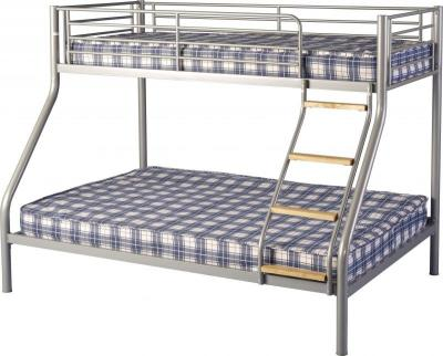 Toby Triple Sleeper Metal Bunk Bed in Silver