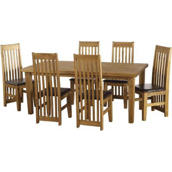 Corona Wooden Dining Set with 6 Dining Chairs
