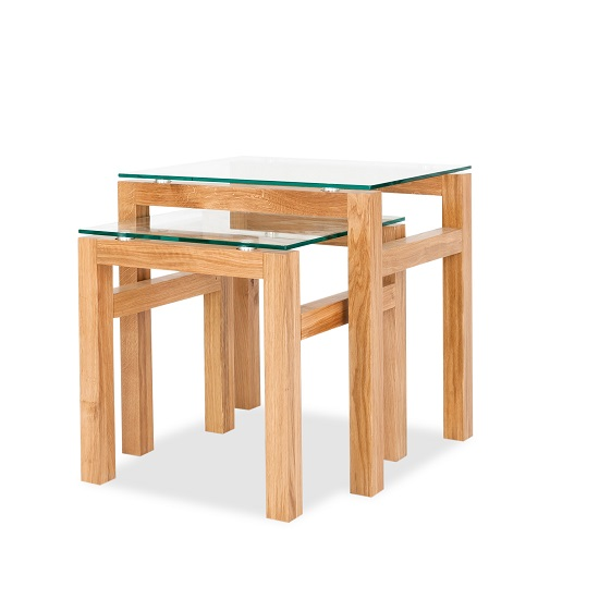 Tribe glass nesting table in clear with solid white oak