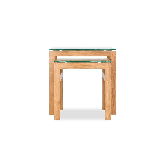 Tribe Glass Nesting Table In Clear With Solid White Oak Frame_2