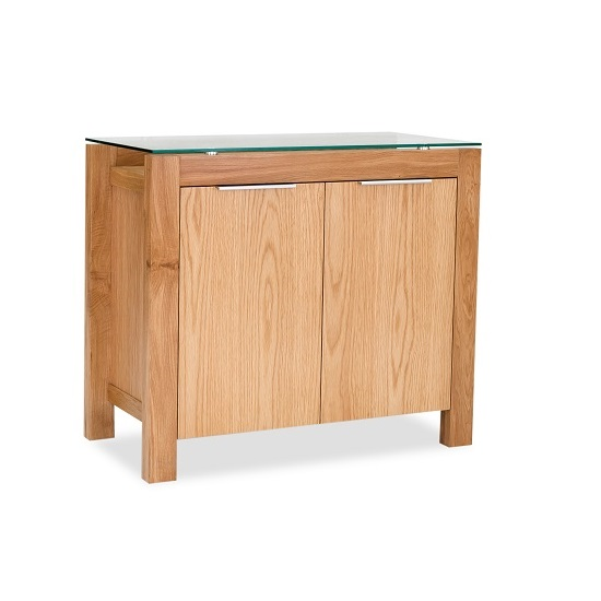 Tribe Sideboard In Clear Glass Top With Solid White Oak