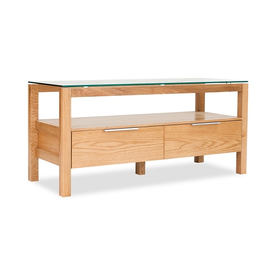 Tribe Wooden TV Stand In Clear Glass Top With Solid White Oak