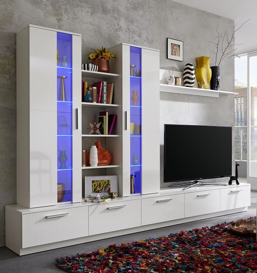 Rhombus Living Room Set In White High Gloss Fronts With Storage