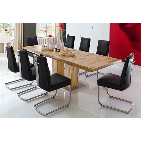 Turin Extendable Dining Table In Core Beech With 10 Luna Chairs