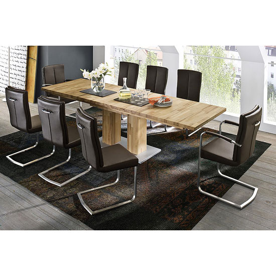 Turin Extendable Dining Table In Core Beech With 8 Luna Chairs