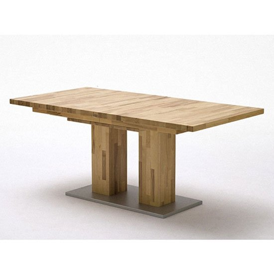 Turin Extendable Dining Table In Core Beech With Chrome Base