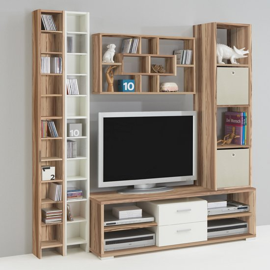 TV Combi White & Baltimore Walnut Living Room Setting-3